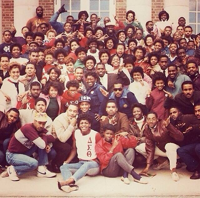 Hampton greeks posing for a picture in the 1980s.