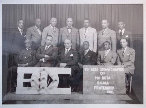 The Nu Beta Sigma Chapter of Phi Beta Sigma 1950's. Sigma Founder Dr Leonard F Morse (sitting far left. front row).