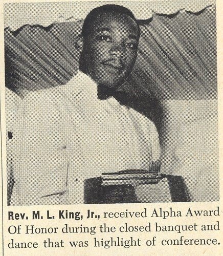 """Dr. MLK Jr, attending his first Alpha Phi Alpha general convention as a neophyte were he was awarded the """"Alpha Award of Honor""""."""