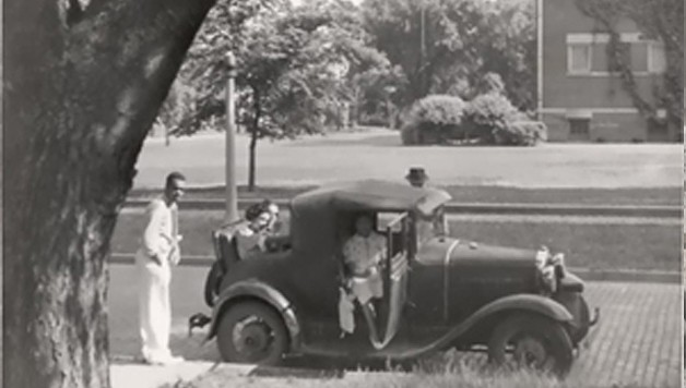 Brother Spurlock in front of his fraternity house in 1936.