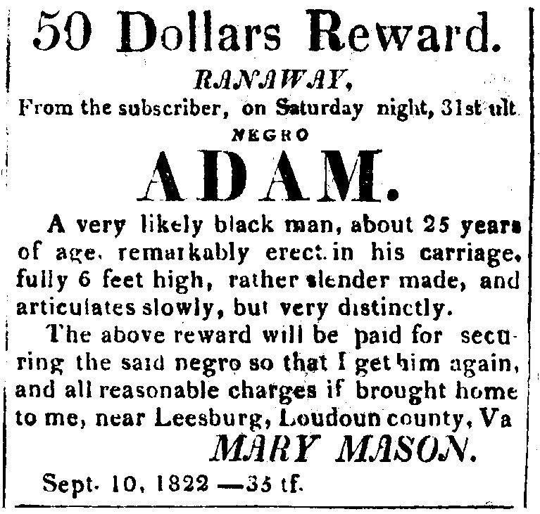 1822-09-10AdamRunawaySlaveOfMaryMason