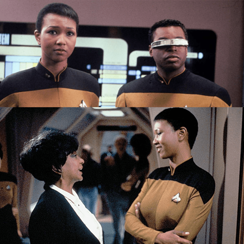 Top: Dr. Jemison with LeVar Burton | Bottom: Dr. Jemison with her AKA soror Star Trek actress Nichelle Nichols